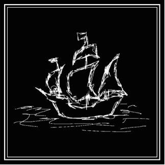 Pirate Ship. Black and White Galleon. Statuette
