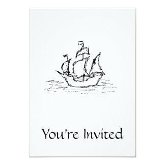 Pirate Ship. Black and White. 5x7 Paper Invitation Card