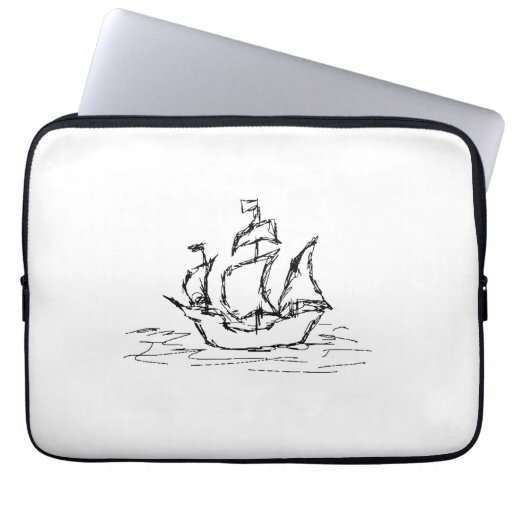 Pirate Ship. Black and White. Laptop Sleeve