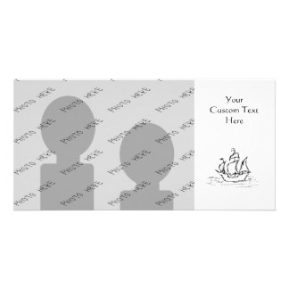 Pirate Ship. Black and White. Photo Card Template