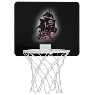 Pirate Ship Black Hoop Mini Basketball Hoops