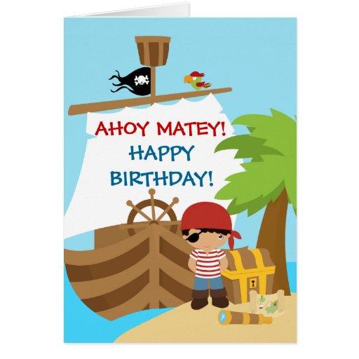 Pirate Ship Boy Birthday greeting Card