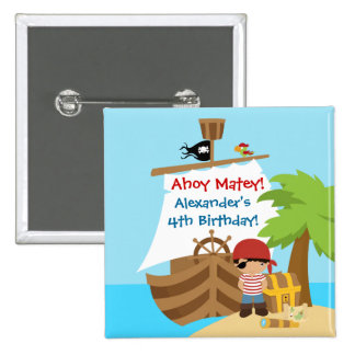 Pirate Ship Boy Birthday Party Button