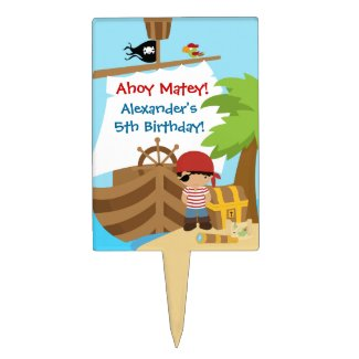 Pirate Ship Boy Birthday Party Cake Topper