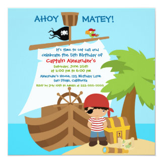 Pirate Ship Boy Birthday Party Invitation Announcement