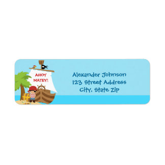 Pirate Ship Boy Birthday Return Address Labels Custom Return Address Labels