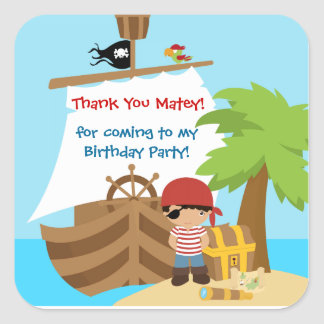 Pirate Ship Boy Birthday Thank You Sticker