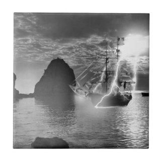 Pirate Ship Catalina Island Lightning Ceramic Tile