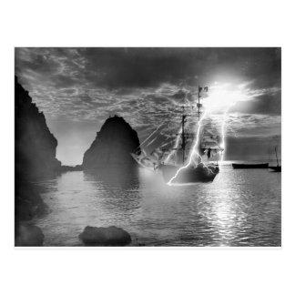 Pirate Ship Catalina Island Lightning Postcard