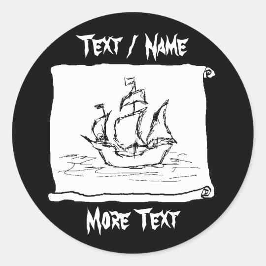 Pirate Ship. Classic Round Sticker