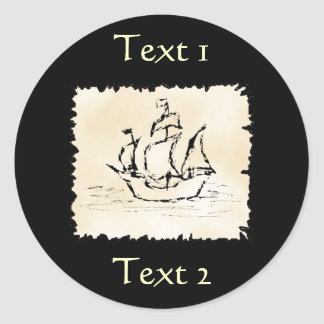 Pirate Ship. Classic Round Sticker
