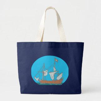 Pirate ship corsair tote bags