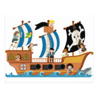 Pirate ship corsair postcard