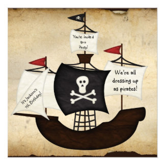 Pirate ship costume theme party map invitations