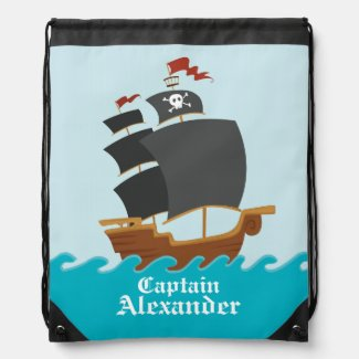Pirate Ship Drawstring Bag