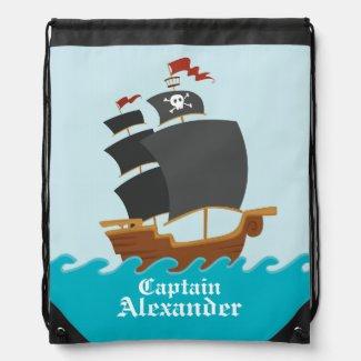Pirate Ship Drawstring Bag