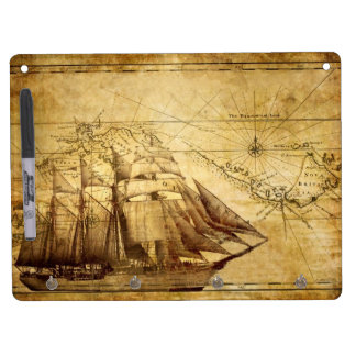 pirate ship dry erase board with keychain holder