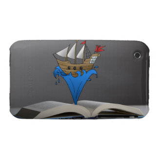 Pirate ship emerges from a storybook iPhone 3 Case-Mate case
