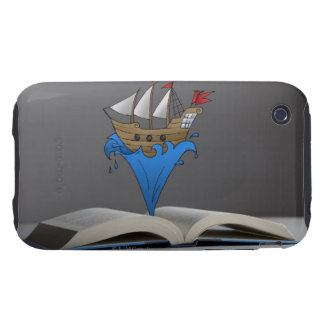 Pirate ship emerges from a storybook tough iPhone 3 case