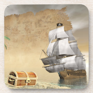 Pirate ship finding treasure - 3D render Beverage Coaster