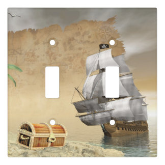 Pirate ship finding treasure - 3D render Light Switch Cover
