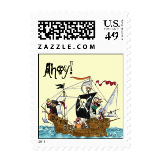 Pirate Ship Flying Jolly Roger Flag Ahoy Stamps