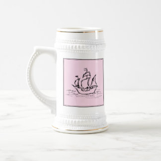 Pirate Ship Galleon. Black and Pink. 18 Oz Beer Stein