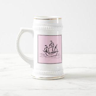 Pirate Ship Galleon Black and Pink Coffee Mug