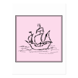 Pirate Ship Galleon. Black and Pink. Postcard