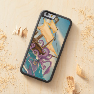 Pirate Ship Giant Kraken attack cartoon Carved® Maple iPhone 6 Bumper Case