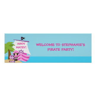 Pirate Ship Girl Birthday Party Banner Poster