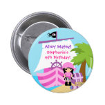 Pirate Ship Girl Birthday Party Button