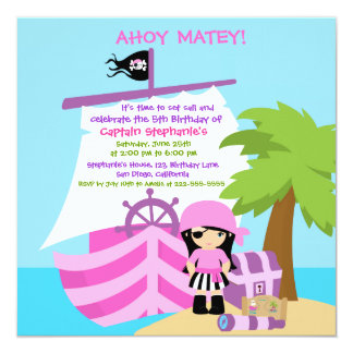 Pirate Ship Girl Birthday Party Invitation