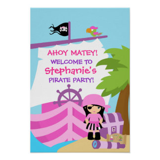 Pirate Ship Girl Birthday Party Poster