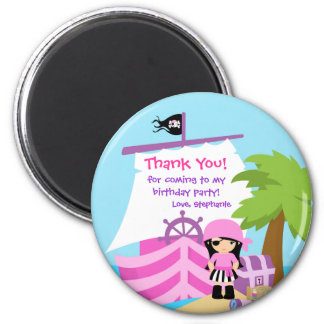 Pirate Ship Girl Birthday Party Thank You Magnet