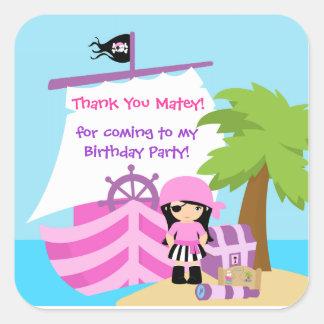 Pirate Ship Girl Birthday Thank You Sticker Square Sticker