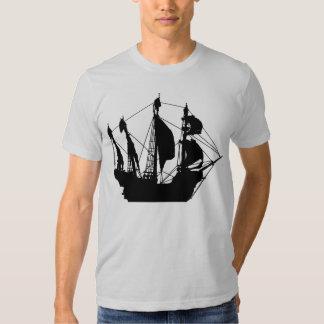 Pirate Ship gray semi fitted mens tshirt