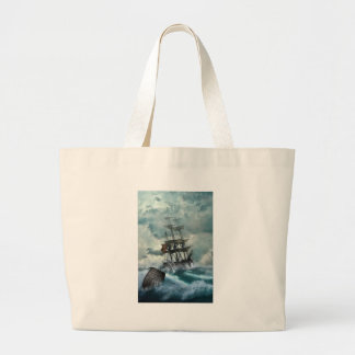Pirate Ship In A Storm Large Tote Bag