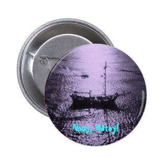 Pirate Ship in purple Pinback Button