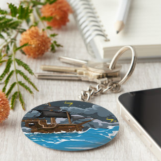 Pirate Ship in Storm Keychain