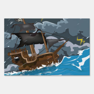 Pirate Ship in Storm Yard Sign