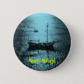 Pirate Ship in teal Button