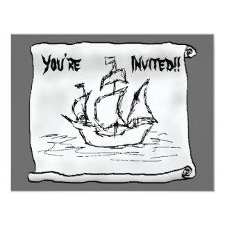 Pirate Ship. 4.25x5.5 Paper Invitation Card