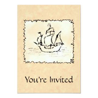 Pirate Ship. 5x7 Paper Invitation Card