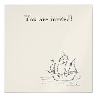 Pirate ship. 5.25x5.25 square paper invitation card