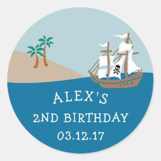 Pirate Ship Kids Birthday Party Classic Round Sticker