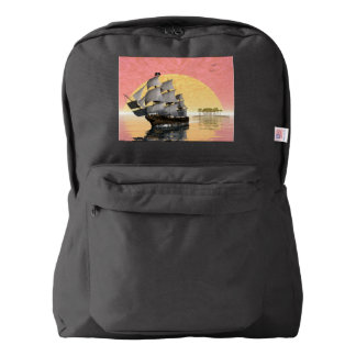 Pirate ship leaving - 3D render American Apparel™ Backpack
