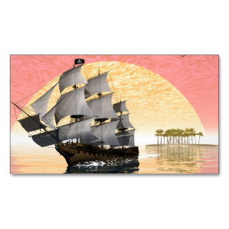 Pirate ship leaving - 3D render Business Card Magnet
