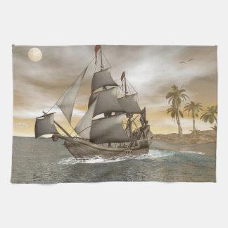 Pirate ship leaving - 3D render Hand Towel