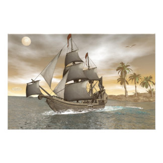 Pirate ship leaving - 3D render Stationery